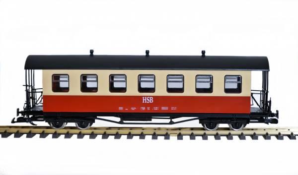 Train Personenwagen HSB 970-407, rot-beige, Tonnendach, Edelstahlräder, Spur G