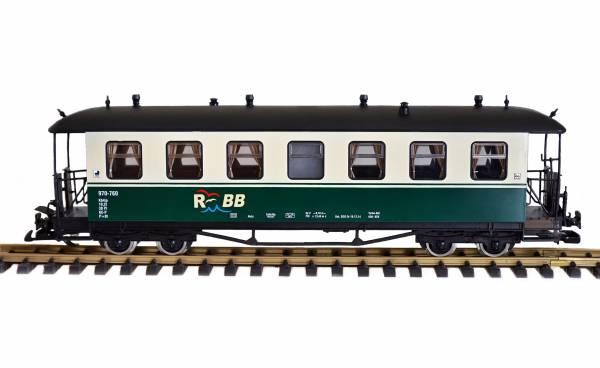 Zenner Personenwagen, Runddach, grün-beige, RüBB 970-760, Spur G, Edelstahlräder