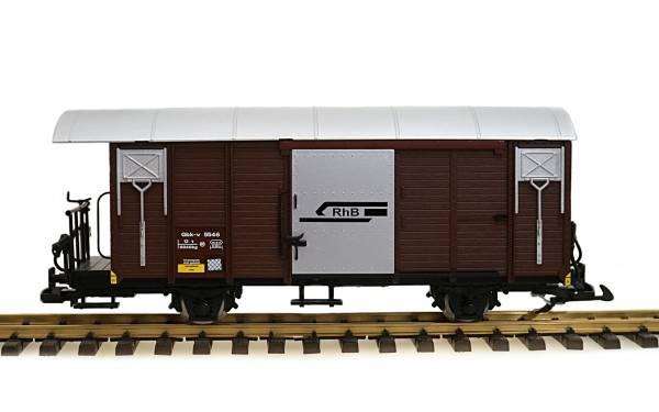 Zenner Gedeckter Güterwagen RhB Gbk-v 5564, Spur G, Edelstahlräder