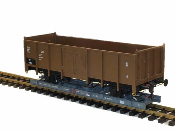 Train Line45 Wagen Regelspur Spur II (64mm) auf Rollwagen Spur G (45mm)