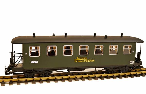 Zenner SOEG Zittauer Personenwagen, grün, 7 Fenster, Runddach, Spur G