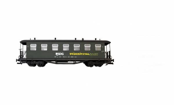 Train Personenwagen, Edelstahlräder, grün, SDG-Weißeritztalbahn Runddach, Spur G,