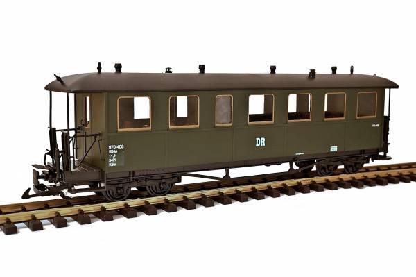 Zenner sächsoischer Personenwagen Schwarzbachbahn, grün, Edelstahlradsätze, Spur G, für LGB Kupplung