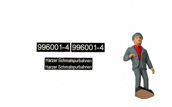Set für BR99 6001 LGB Lokführer, Nummern- und HSB- Schilder
