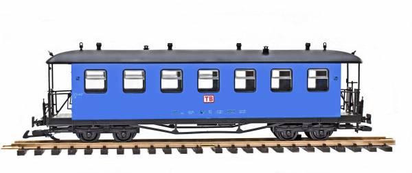 Train Reko-Personenwagen, Runddach, blau, TB, Spur G, Edelstahlradsätze