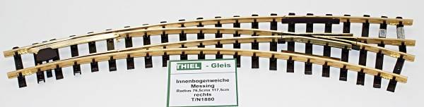 Thiel Innenbogenweiche rechts 45°/30° R765/1175mm(R2/R3), Ms, Spur G