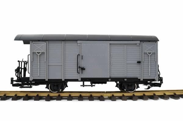 Train Gedeckter Güterwagen, RHB Gbk-v, hellgrau, Spur G, Edelstahlräder