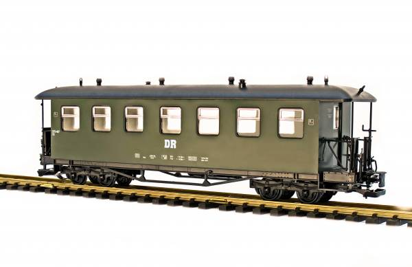 Train Personenwagen, Runddach, grün, DR- oder SDG-Fichtelbergbahn, Spur G, für LGB