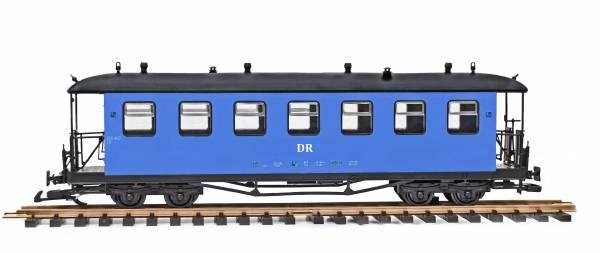 Train Personenwagen, Runddach, blau, DR Spreewaldbahn Spur G, Edelstahlradsätze