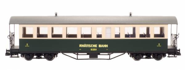 Train Line45 Set 2 Personenwagen RHB B2251 und B2252 grün/beige , Spur G