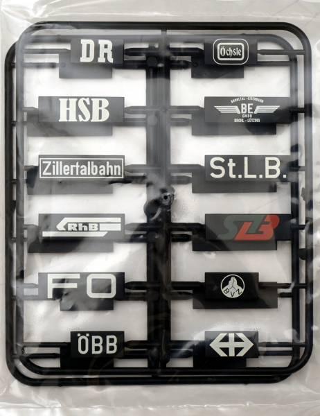 Zenner Schilderset verschiedener Bahngesellschaften