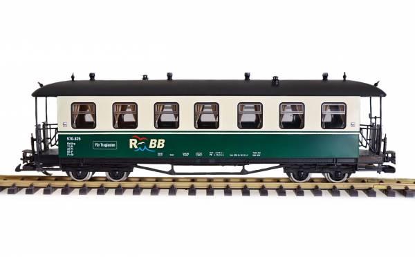Zenner Personenwagen, Runddach, grün-beige, RüBB 970-825, Spur G, Edelstahlräder