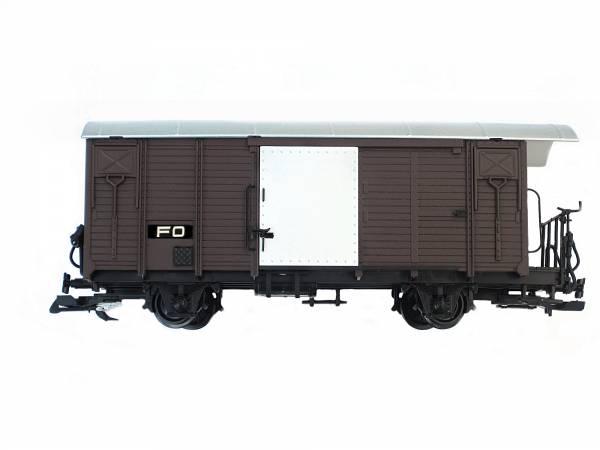 Train Gedeckter Güterwagen, FO, braun, Edelstahl-Radsätze, Spur G