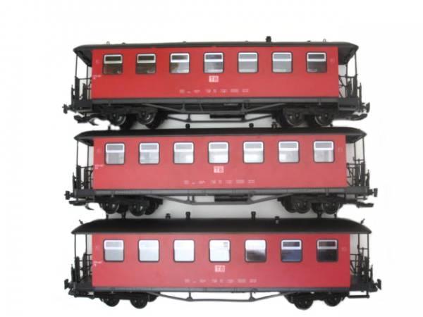 Train Set 3 Personenwagen Rot Metallturgriffe Spur G Gartenbahn
