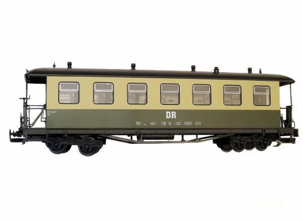 Train Reko-Personenwagen, Runddach, grün-beige, DR, Spur G, Edelstahlradsätze