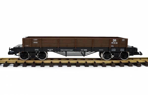 Train Niederbordwagen, braun, Spur G Gartenbahn, Edelstahlradsätze