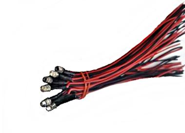 6 LED Lampen (Birne) rot 3mm, für Loks bis 24 Volt mit Vorwiderständen und Kabel
