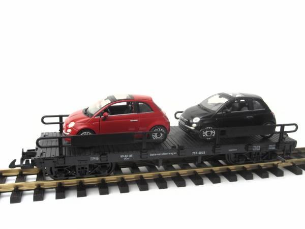 Zenner Autotransporter mit 2 Fiat 500, Edelstahlräder, Spur G