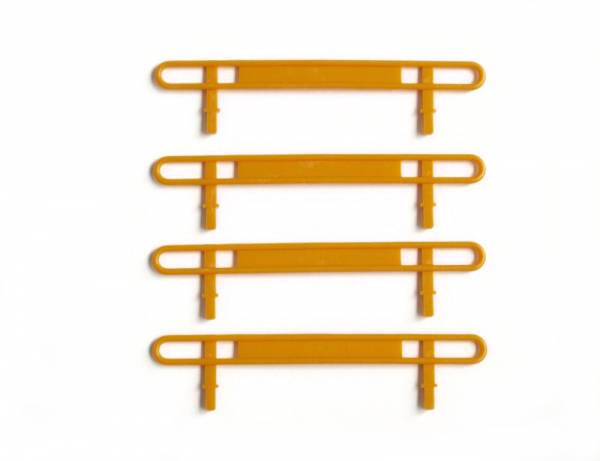 Zenner 4 Leitplanken, orange-gelb, Spur G, für LGB Flachwagen Güterwagen LüP 415 mm