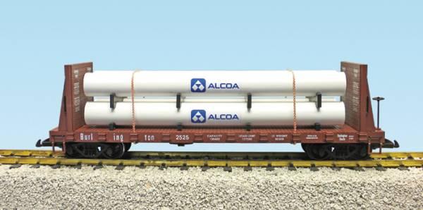 USA-Trains Burlington Pipe Flat Car (Alcoa) - braun, Spur G