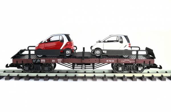 Zenner Autotransporter mit 2 Smart, Spur G, LGB kompatible Kupplung. Artikel ZRLB 95752 SMART, Metallradsätze