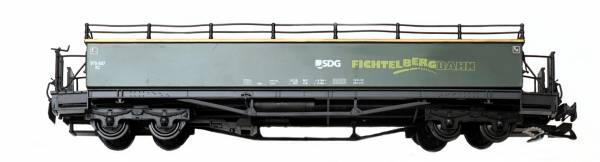 Train offener Personenwagen SDG, grün,Kunststoff Radsätze, Spur G
