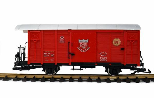 Train Gedeckter Güterwagen, RHB Gbk-v, rot , Edelstahlräder, Spur G Gartenbahn