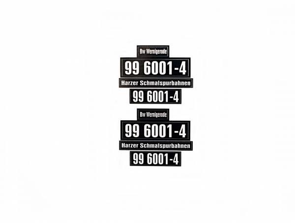 Aufkleber-Set für Lok BR 99 6001-4, Lok Nummern- und HSB- Schilder, für Spur G Gartenbahn