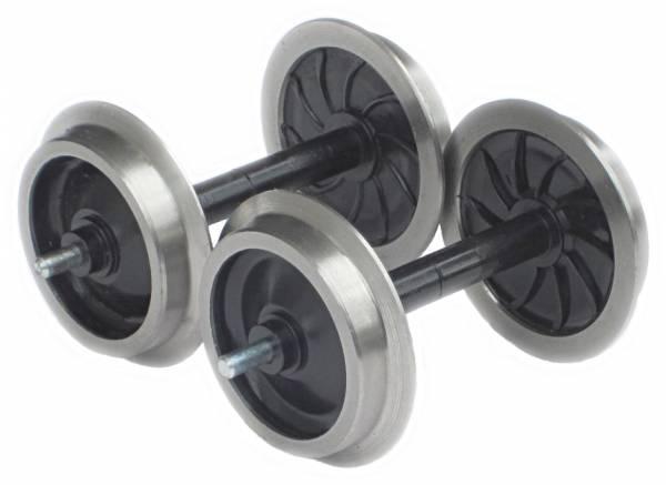 Zenner 2 Scheibenradsätze mit Edelstahlradreifen für LGB Personenw. oder Güterw., Spur G