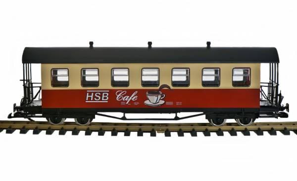 Train Personenwagen HSB Cafewagen rot-beige, Tonnendach, Edelstahlräder, Spur G