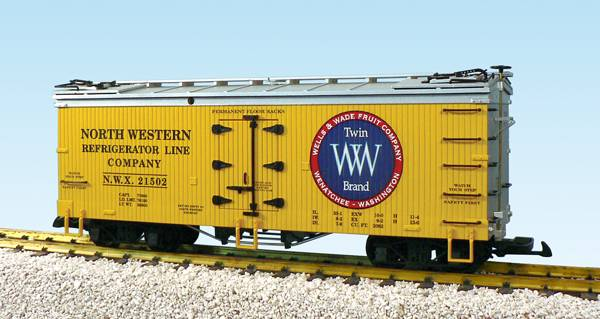 USA-Trains NW Reefer Line/Twin Brand Fruit Co. - Yellow/Silver,Spur G