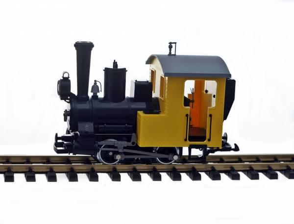 Dampflok als Feldbahn oder Bauzuglok geeignet, schwarz-gelb, analog