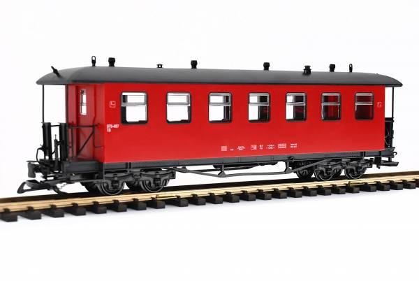 Train Reko-Personenwagen, Runddach, rot, Edelstahlradsätze, Spur G Gartenbahn