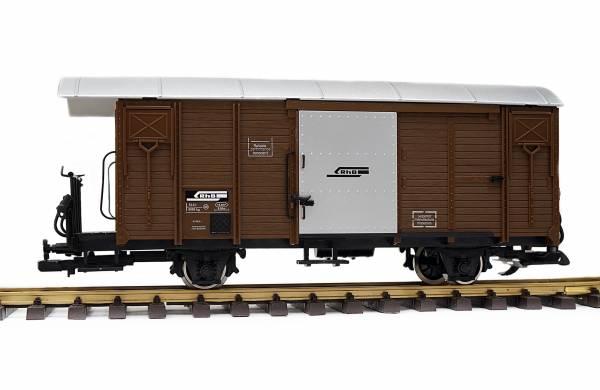 Train Gedeckter Güterwagen, RHB Gbk-v, braun, Spur G, Edelstahlräder