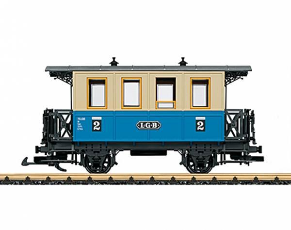 Personenwagen Spur G, blau-beige, Innenbänke, Gartenbahn