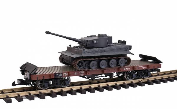 Zenner Flachwagen 4 achsig,funkgesteuertem Tiger1 Panzer, Spur G