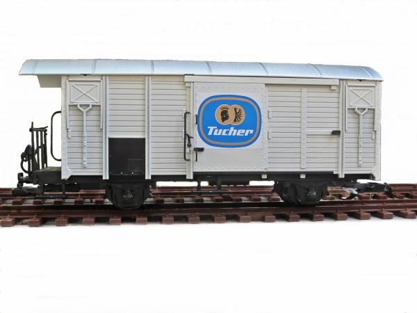 Zenner Gedeckter Güterwagen , weiß, Bierwagen Tucher, Edelstahlräder, Spur G