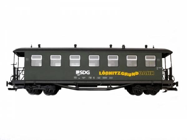 Train Personenwagen, Edelstahlräder, grün, SDG-Lößnitzgrund, Spur G, 2.Wahl