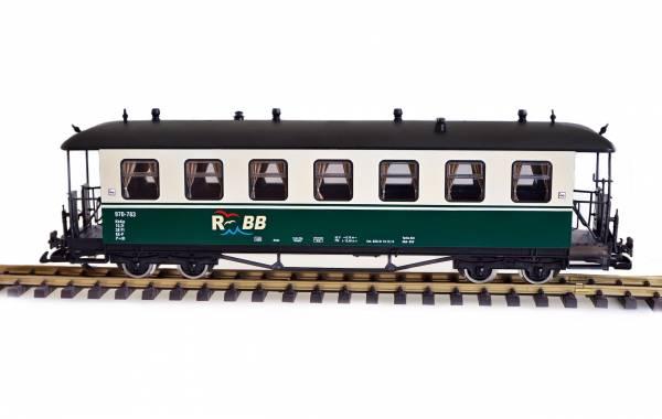 Zenner Personenwagen, Runddach, grün-beige, RüBB 970-783, Spur G, Edelstahlräder