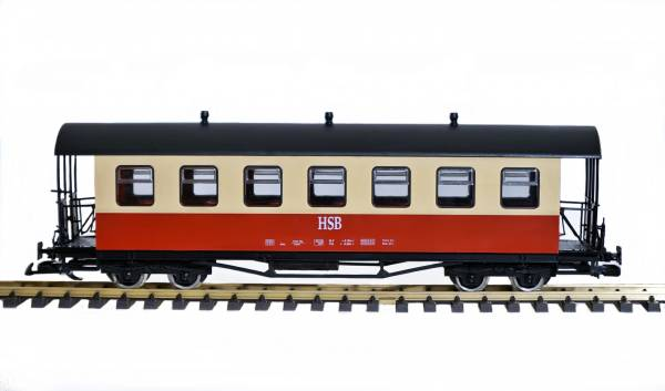 Train cars HSB, red and beige, track G, suitable for LGB coupling