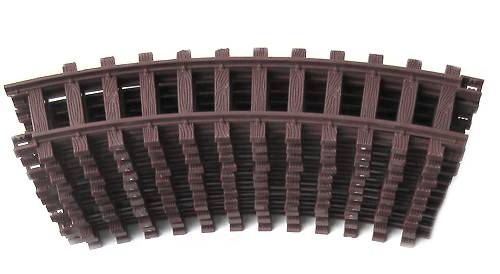 Train 12 plastic tracks, brown, curved, scale G