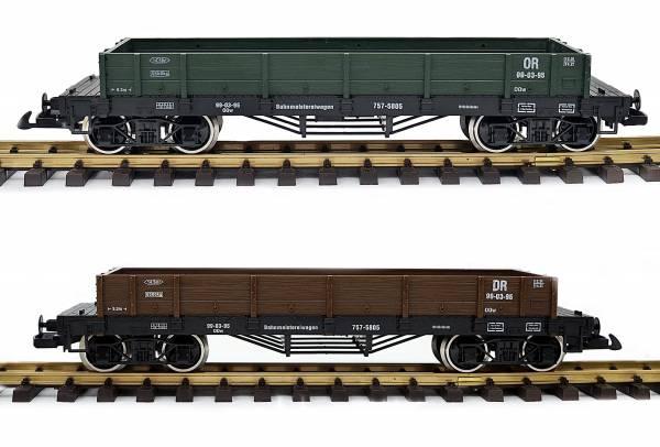 Train gondola, set of 2, green and / or brown, stainless steel wheels, gauge G