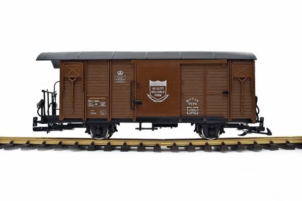 Train Covered Freight Car, RHB Gbk-v, brown, G gauge, stainless steel wheels